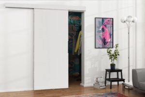 Drzwi przesuwne naścienne MULTI 80 białe zabudowa