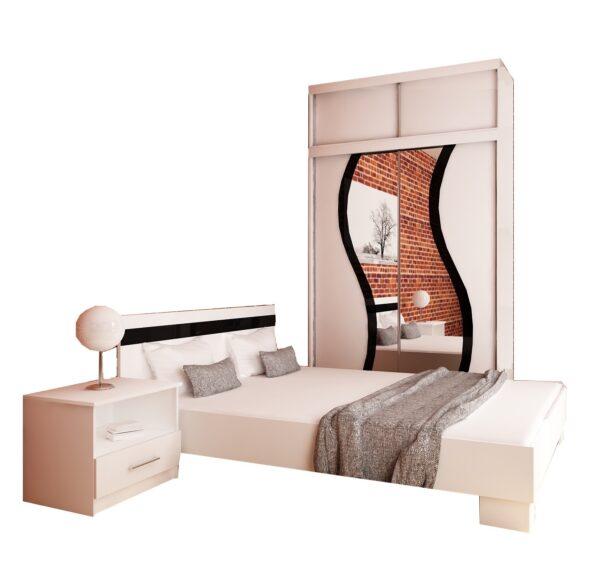 Sypialnia BARCELONA 150 łóżko szafa Biała Sonoma