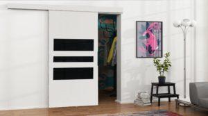 Drzwi przesuwne naścienne MULTI 100 białe wzory