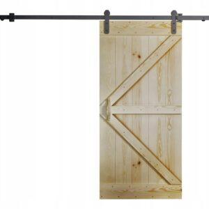 Drzwi przesuwne naścienne drewniane RUST 80